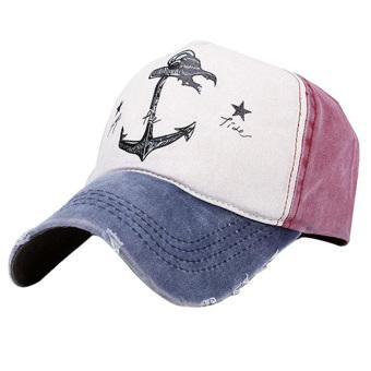 Vintage Pirate Ships Anchor Printed Cotton Unisex Trucker Hat Adjustable Baseball Cap Boys Girls Hip Hop Snapback Flat Hat Navy Blue+Burgundy - intl