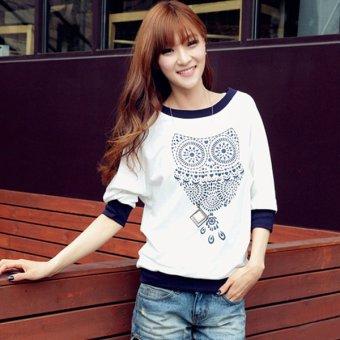 Cyber Summer Women Half Sleeve Batwing Dolman Tops Animal Owl Print Pattern Crew-neck Fashion T-shirts Blouse Tees - Intl