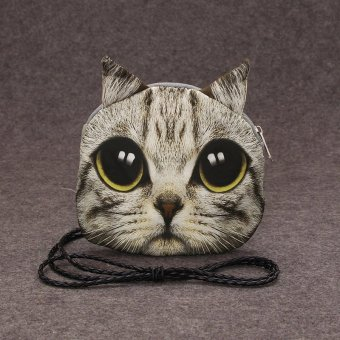 New Cute Women Shoulder Bag Cat Face Cartoon Print Zipper Closure Messenger Clutch Coin Purse Bag - intl