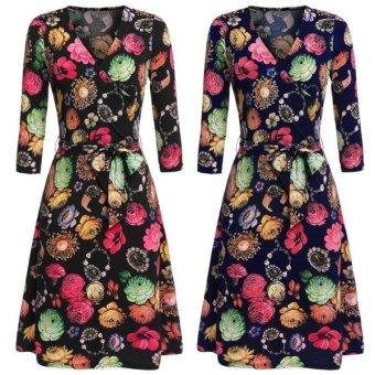 Linemart Zeagoo Women's Crossover V-Neck 3/4 Sleeve Floral A-Line Dress w/ Waistband ( Blue ) - intl