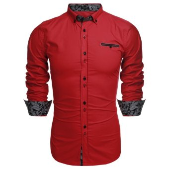 Linemart ?COOFANDY Men Long Sleeve Turn Down Neck Front Pocket Loose Tops Casual Dress Cotton Button Down Shirts ( Red ) - intl