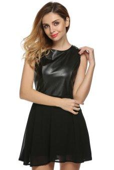 Cyber Zeagoo Women Casual O-Neck Sleeveless Leather Chiffon Patchwork Mini A-line Dress ( Black ) - Intl