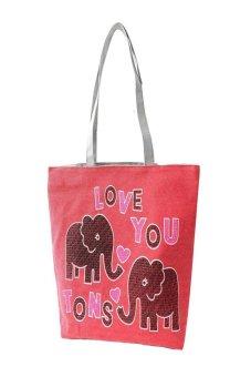 HKS Women Girl Elephant Shoulder Bag Handbag Tote Shopping HandBags Red - intl