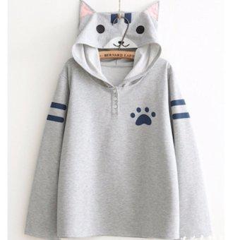 Áo khoác hoodie nữ tay dài mũ tai mèo LTTA124 (Xám)