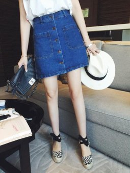 2017 new spring waisted jean skirt female Korean summer bag hip A-line A slim step short skirt - intl