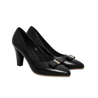 Giày nữ cao gót 7cm da bò thật cao cấp màu đen ESW94