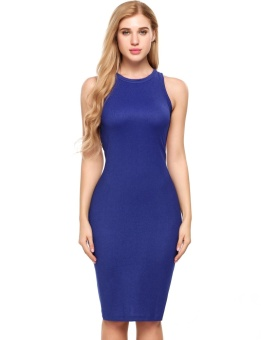 Cyber Women Sexy Sleeveless Solid Backless O Neck Elastic Fil-lumiere Party Pencil Dress ( Blue ) - intl