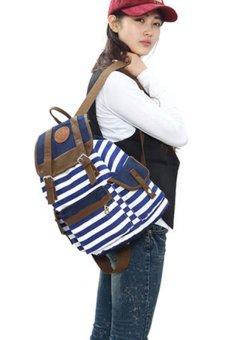 Bluelans Women Unisex Canvas Leisure Bag School Bookbag Travel Backpack Blue (Intl)