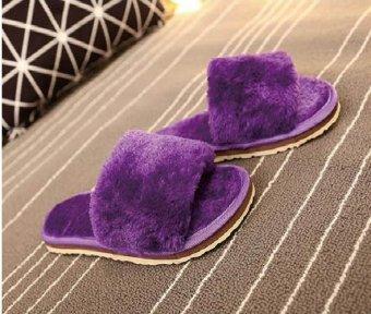 2017 Winter new fluffy women's flat-heeled flat comfort comfortable plush warm slippers home anti-slip plush word slippers (purple) - intl