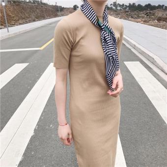 Đầm maxi body len gân cực đẹp (Màu Nâu)