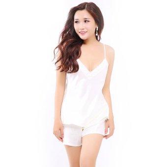 Đồ bộ mặc nhà quần sọt satin nữ tính Wannabe BS86A (Kem)