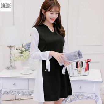 Đầm Chữ A Xòe Công Sở Đẹp Tay Dài Nơ DRESSIE - KU1039 (Đen Trắng)