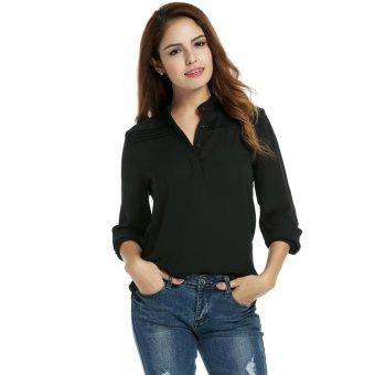 Linemart Women Casual O-Neck Long Sleeve Loose Solid Chiffon Blouses Shirt ( Black ) - intl