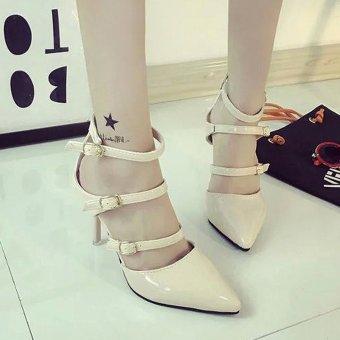Giày cao gót 3 dây cho bạn gái thêm quyến rũ – 133 (Kem)