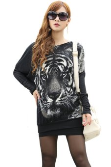 HKS Casual Women Tiger Print Crewneck Batwing Sweater Jumper Pullover Black - intl