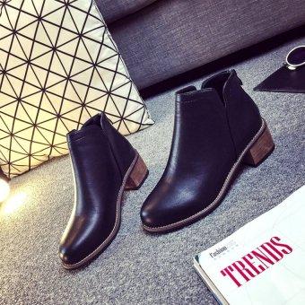Giày bốt nữ đế vuông 4 cm GBN33 (Đen)