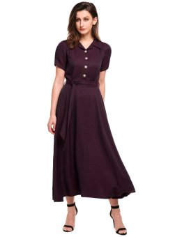 Linemart Women Vintage Style Turn Down Collar Puff Sleeve High Waist Maxi Swing Dress with Belt ( Red ) - intl