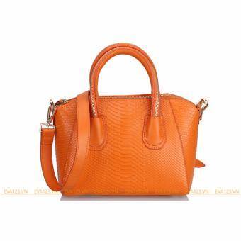 Túi xách da thật vân cá xấu - cam
