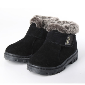 New Girls Boys Winter Warm Boots Kids Children Cotton Leather Shoes Snow Boots Black - intl