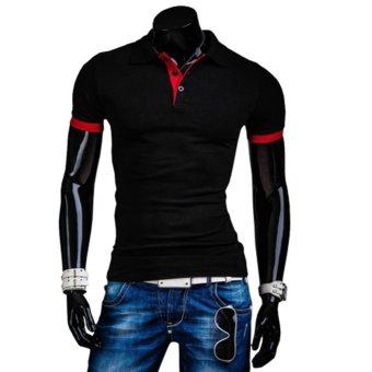 Mens Fashion Stylish Casual Slim Fit Short Sleeve Polo Shirt(Black)M - intl