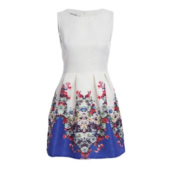 Women Ball Gown Dress A-Line Round Collar Floral Print (Blue) - intl