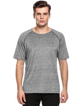Linemart Men Short Sleeve Wicking Breathable Quick Dry T-Shirt Sportswear ( Grey ) - intl