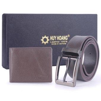 HL2115-HL4109 - Bộ Bóp & Dây nịt nam Huy Hoàng đầu kim màu nâu