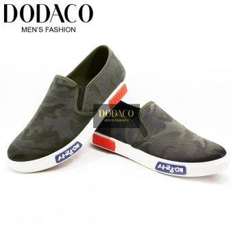 Giày Lười Nam Màu Lính Rằn Ri Thời Trang DODACO DDC1863 (Xanh bộ đội)