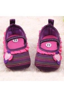 Moonar Newborn Baby Girl Flower Ruffled Shoes Toddler Soft Crib Walk Shoes (Purple)