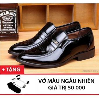 Giày tây nam Rozalo RMG8251B-Đen + tặng đôi tất màu ngẫu nhiên