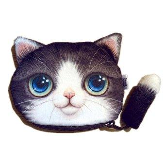 niceEshop Lovely Cat Face Coins Money Bag Animal Mini Girl Child Zipper Wallet Purple - intl