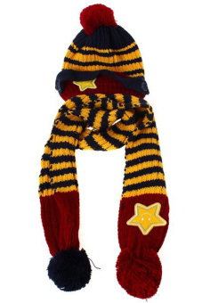 Lalang Baby Kids Beanie Hat Scarf Knit Crochet Winter Set (Navy Blue)