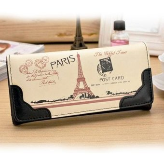Moonar Multi-layer Long Clutch Wallet Effel Towel Pattern PU leather Card Holder (Black) - intl