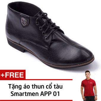 Giày Da Nam Cao Cổ Tăng Chiều Cao Smartmen Gd-111(Đen) + Tặng Áo Thun Nam App01