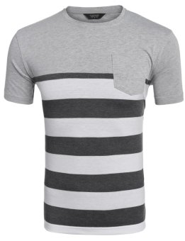 Linemart Men Casual O-Neck Short Sleeve Striped Patchwork Pullover T-Shirt with Pocket ( Grey ) - intl