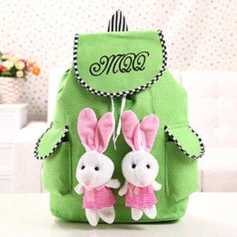 Women Canvas Satchel Travel Cute Rabbit School Backpack Rucksack Shoulder Bag Green - intl