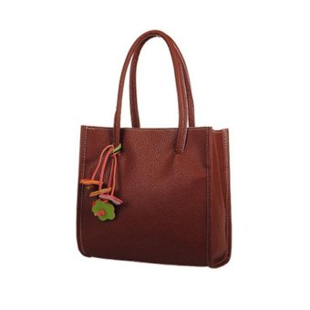 Fashion girls handbags leather shoulder bag candy color flowers totes Brown - intl