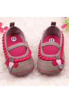 Moonar Newborn Baby Girl Flower Ruffled Shoes Toddler Soft Crib Walk Shoes (Khaki)