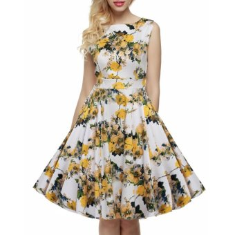 Cyber ACEVOG Stylish Lady Women's Fashion Casual Sleeveless Floral Printed Mid-calf Length Party Cocktail Evening Dress - Intl