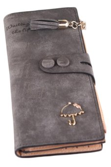 Bluelans Women's Matte Faux Leather Hasp Tassel Zip Handbag Purse Card Wallet Bag Grey (Intl)
