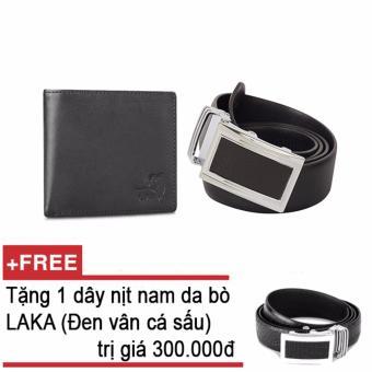 Mua Bộ ví và thắt lưng nam da bò thật LAKA đen trơn + Tặng 01 thắt lưng nam da bò LAKA (Đen cá sấu) trị giá 300000đ giá tốt nhất