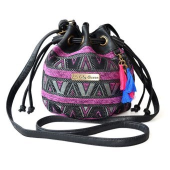 Ethnic Canvas Drawstring Mini Bucket Backpack Shoulder Bag Satchel Purple