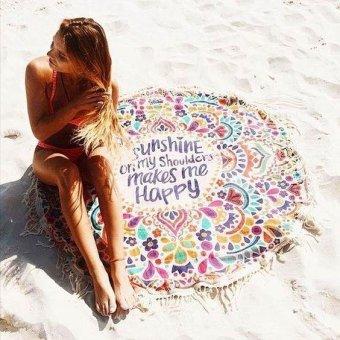 European Stylish Tassel Round Beach Blanket Bikini Out-wearing Towel Home Decoration Yoga Blanket- #1 - intl