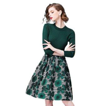 Đầm xòe họa tiết zahra Zahra HR515 (Xanh Lá)