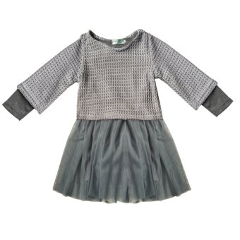 Spring Autumn New Girls Long Sleeved Knit Coat + Dress - intl