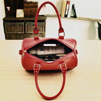 Fashion Women Ladies Leather Handbag Shoulder Messenger Satchel Purse Tote Bags Wine Red - intl