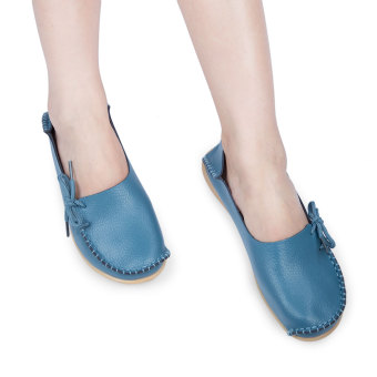 Casual Female Genuine Leather Slip On Flats(Azure) - intl