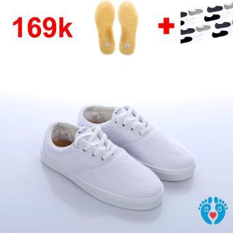 Giày cột giây trắng có lót massage và vớ