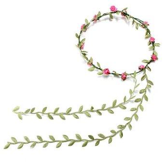 New Boho Style Festival Wedding Flower Floral Headband Garland Hair Head Band Rose Red - Intl