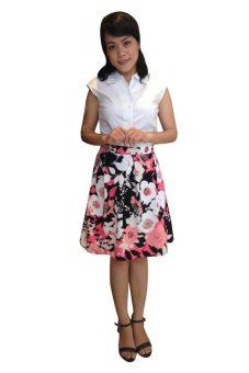 Chân váy bông xếp ly haruchan s0013 (Hồng-đen).